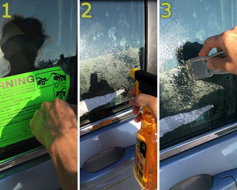 how to get a violation sticker off car window
