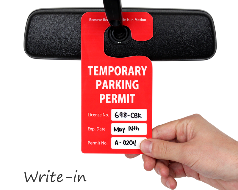 custom parking hang tags see in action. Black Bedroom Furniture Sets. Home Design Ideas