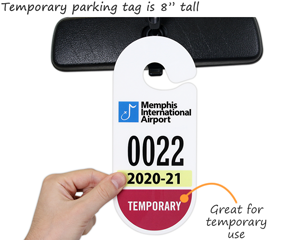 "Temporary parking tag is 8"" tall"