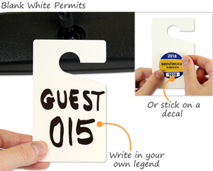 Affordable blank white permit hang tags