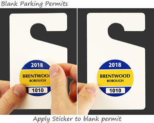 Blank parking permit hang tag