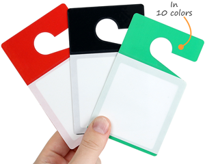 Blank parking tags available in 10 colors