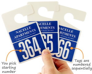 Blue parking permit hang tags with large numbers