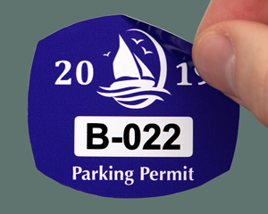 Blue parking sticker