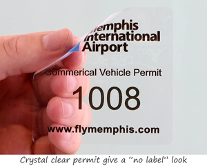 Clear static cling parking permit sticker