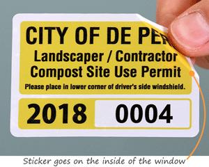Contractor parking permit sticker