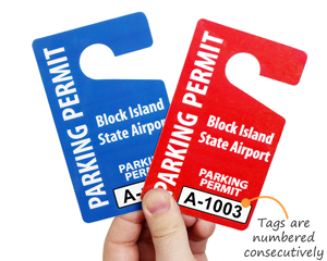 Custom ariport parking lot tags with numbers