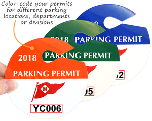 Circular Custom Parking Permits Color Code