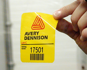 Custom parking permit decal with front adhesive