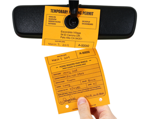 Fluorescent 2-part parking permit