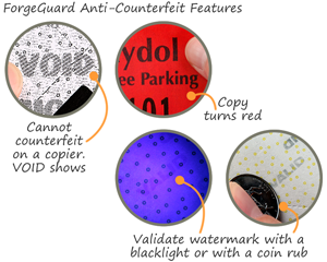 forgeguard anti-counterfeit print your own parking passes