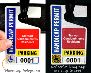 Hologram parking hang tag permits