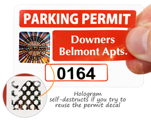 Hologram parking permit sticker