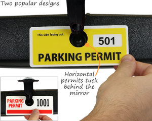 Horizontal parking permit hang tags