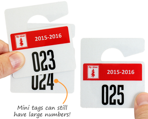 Mini parking tags with large numbering