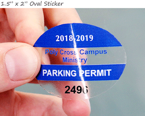 Oval parking permit sticker