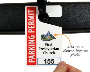 Church parking permit with logo