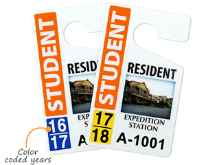Parking hang tags with color-coded years