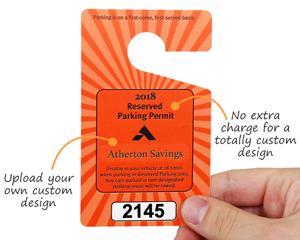 Custom parking permit hang tag