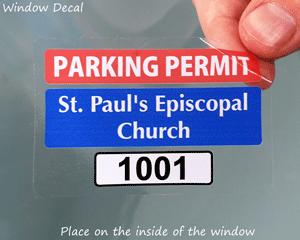 Parking permit sticker for churches