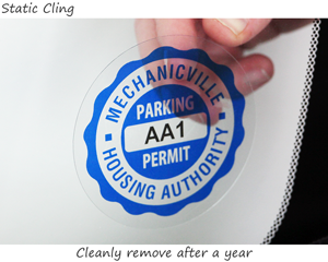 Parking permit sticker for the inside of the windshield