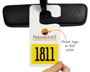 Parking permit with a full color logo