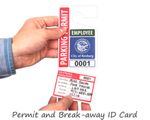 Parking permit with break-away ID card