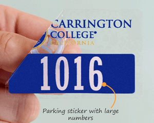 Parking sticker with large numbers