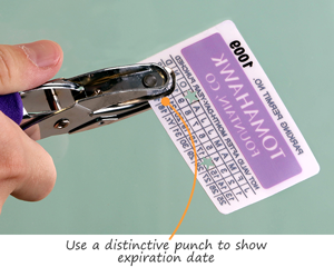 Punch out the month and year to show your permit's expiration date