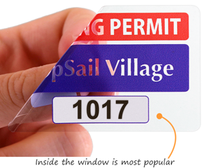 Rectangular parking permit sticker