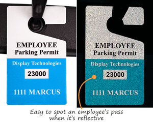 Reflective employee parking permits