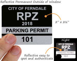 Reflective parking permit decals with back stick