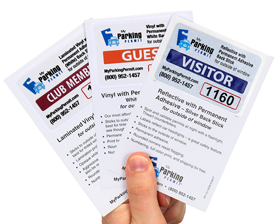 Samples of parking permit sticker materials