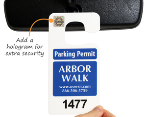 Secure parking permit with hologogram