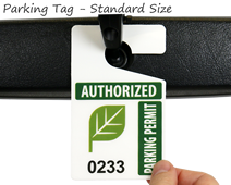 Standard size of parking hang tag