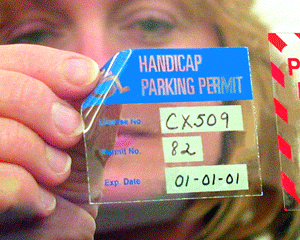 Temporary handicapped parking permit decals