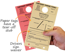 Temporary paper tags with tear-off stub for your parking permit files