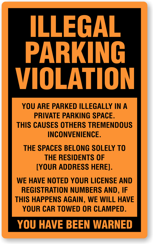 illegal parking stickers parking lot stickers. Black Bedroom Furniture Sets. Home Design Ideas
