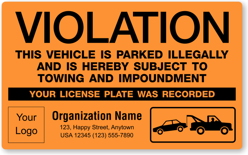 Illegally Parked Car Stickers