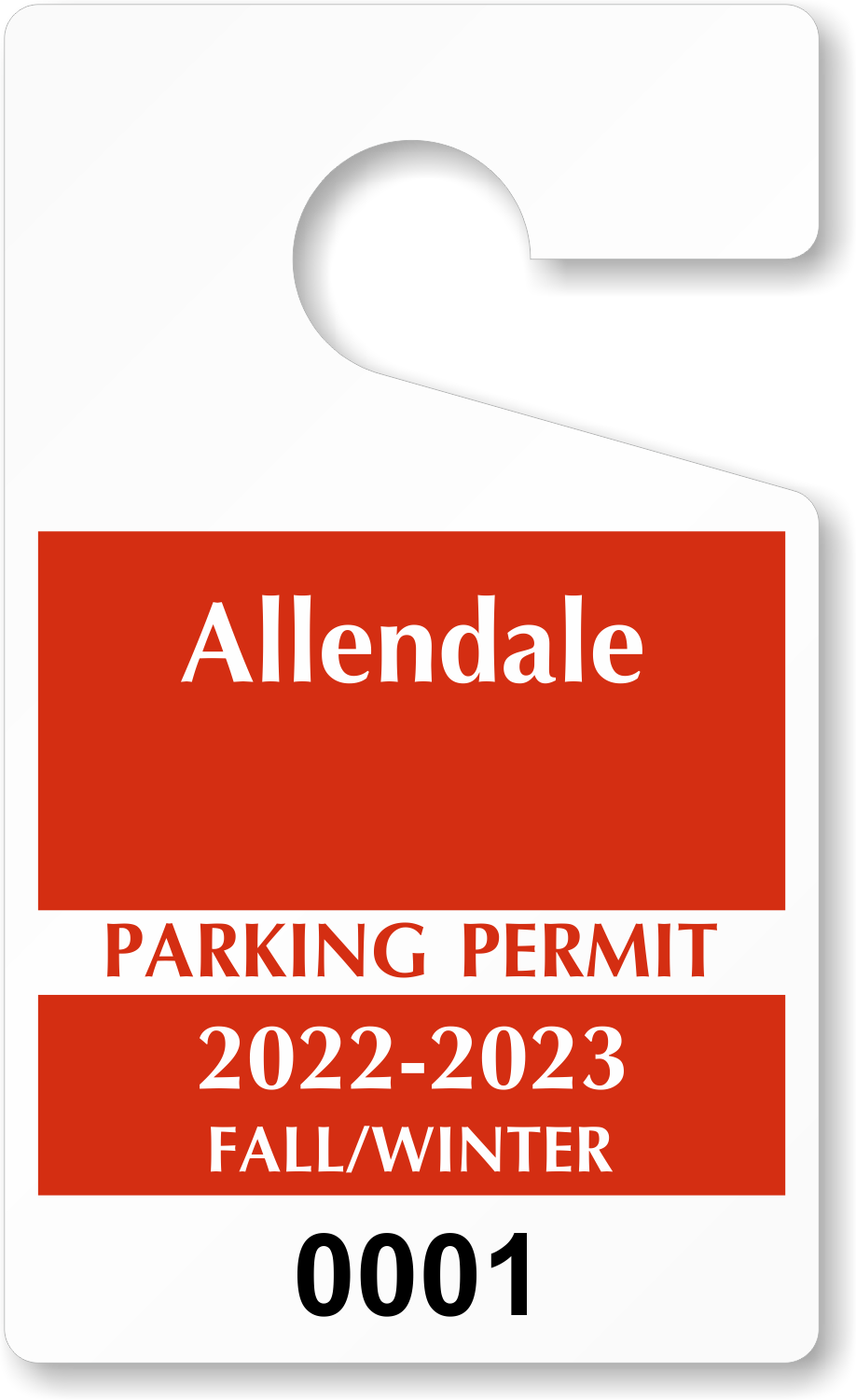 Custom parking tag designs 5 x 3 for Hanging parking permit template free