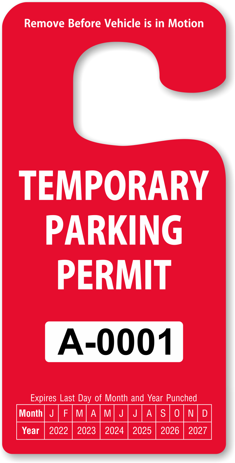 Temporary Parking Permit-Free Shipping!-Two Part Temporary ...