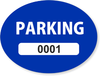 Blue Numbered Oval Parking Decal