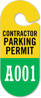 Contractor Parking Permit Hang Tag, Sequentially Numbered