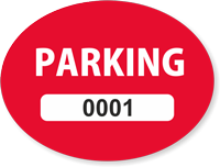 Red Numbered Oval Parking Decal