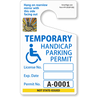 Handicapped Parking Permit, ToughTag™, Blue