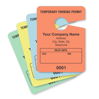 Small Parking Permit Hang Tag, Sequentially Numbered