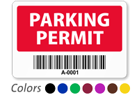 Parking Permit Window Decal with Barcode, Sequentially Numbered