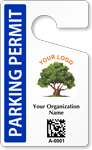 Custom 2D Barcode Parking Permit Hang Tag