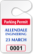 Pre-Printed Numbered Custom Parking Permit Tag