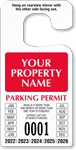 Custom Jumbo Numbered Temporary Parking Permit Hang Tag